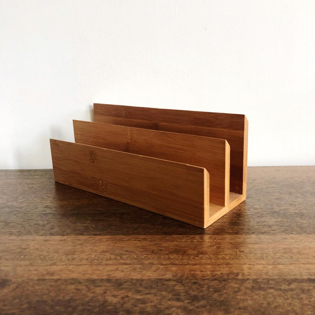 Mid-Century Modern Vintage Wood Desk and Mail Organizer For Sale - Image 3 of 7