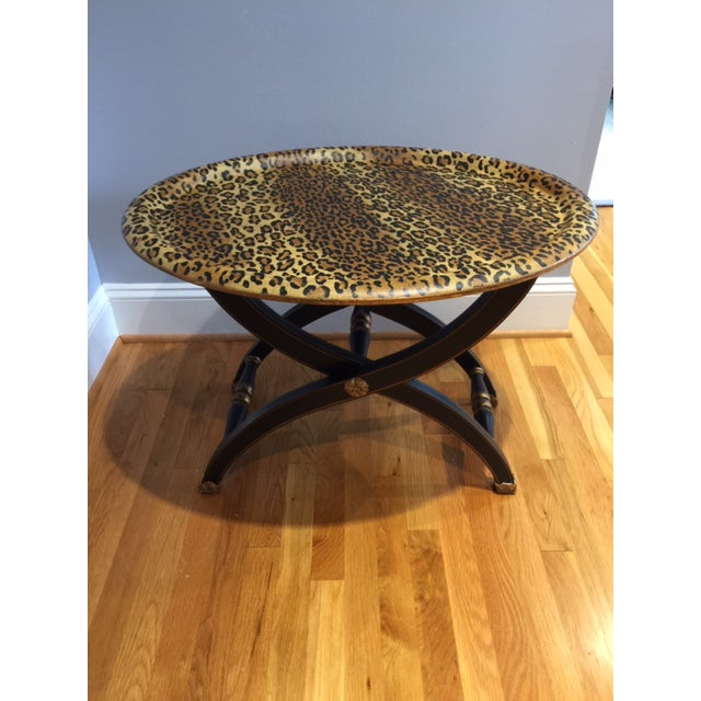 1980s Contemporary Sarreid Animal Print Tray Table For Sale - Image 12 of 12