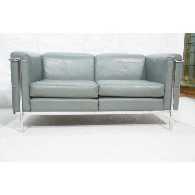 Bauhaus Mid-Century Modern Chrome and Teal Leather Love Seat and Club Chair - 2 Pieces For Sale - Image 3 of 9