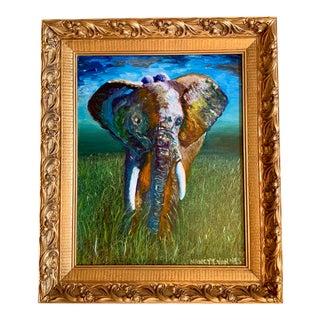 Original Oil Painting of Elephant, Framed For Sale