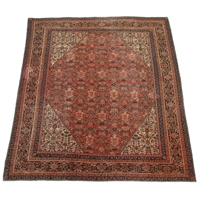 Hand knotted wool Persian Mahal rug with all-over design.