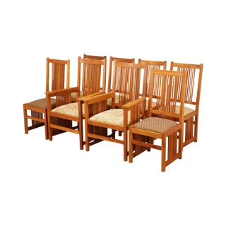 Scott Jordan Mission Style Solid Cherry Set 8 Spindled Dining Chairs For Sale