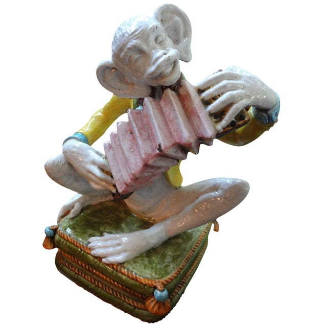 Ceramic 1970s Vintage Glazed Terra-Cotta Monkey Figure For Sale - Image 7 of 8