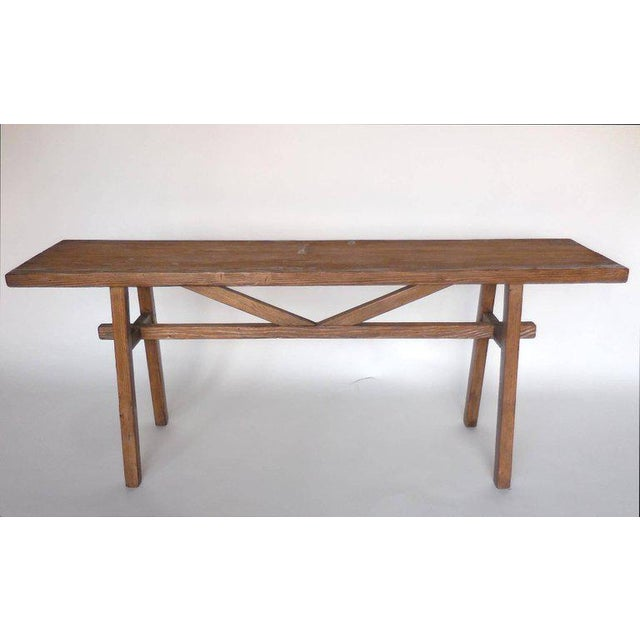 Reclaimed Wood Console with High V Stretcher by Dos Gallos Studio For Sale - Image 5 of 5