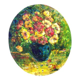 Oval High Relief Floral Bouquet Painting, 1969 For Sale