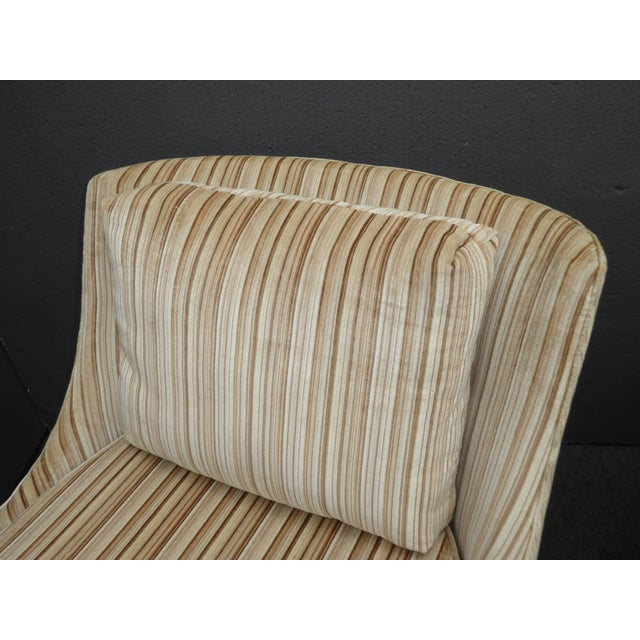 Vintage Mid-Century Modern Milo Baughman Style Tan Stripped Velvet Swivel Chairs - a Pair For Sale In Los Angeles - Image 6 of 13