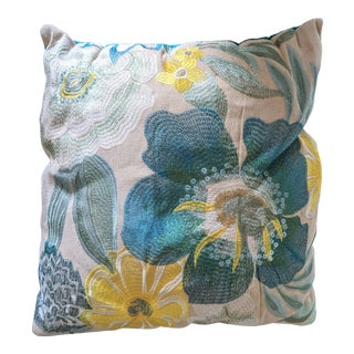 Celerie Kemble Embossed Floral Pillow For Sale