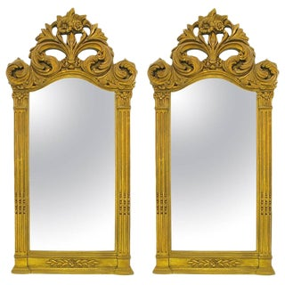 "Two 55"" Tall Rococo Style Gilt Composition Mirrors For Sale"