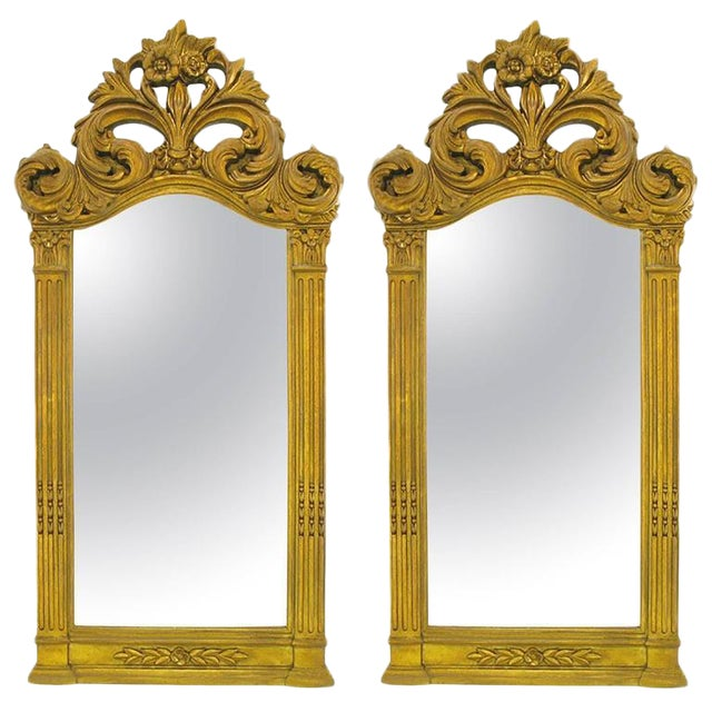 """Two 55"""" Tall Rococo Style Gilt Composition Mirrors For Sale"""