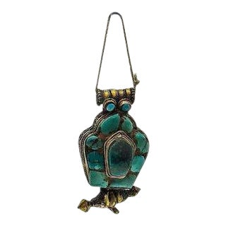 Turquoise Tibetan Gau in Lucite Display Case For Sale