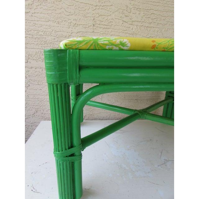 Mid-Century Green Rattan Footstool - Image 7 of 8