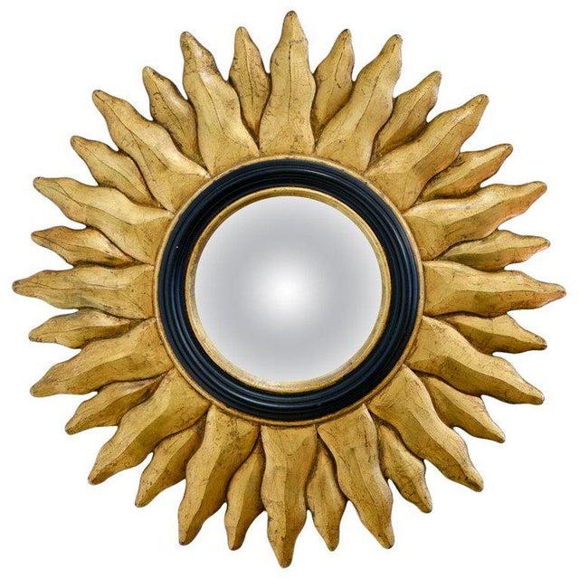 Giltwood 1970s Vintage Giltwood Convex Sunburst Mirror For Sale - Image 7 of 7
