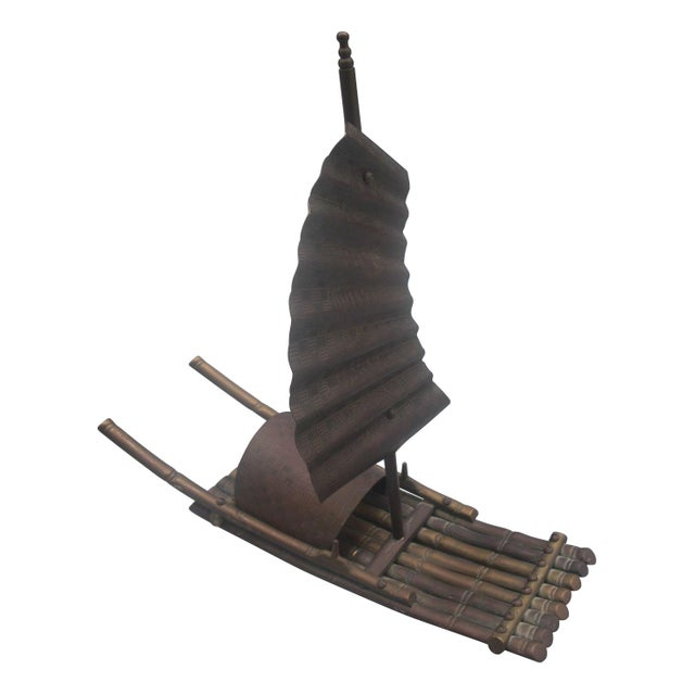 Brass Chinese Junk Boat Sculpture - Image 1 of 4