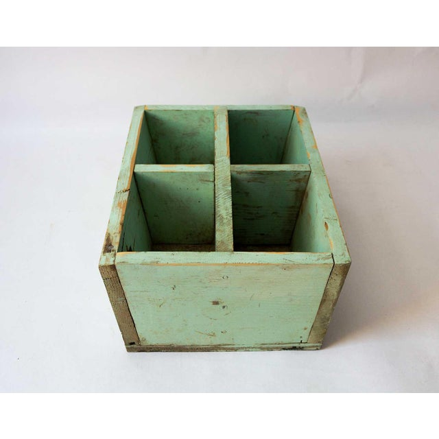 Rustic 1940s Shabby Chic Mint Green Berry Basket For Sale - Image 3 of 8