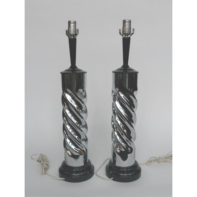 Mid Century Chrome Spiral Table Lamps - A Pair - Image 2 of 8