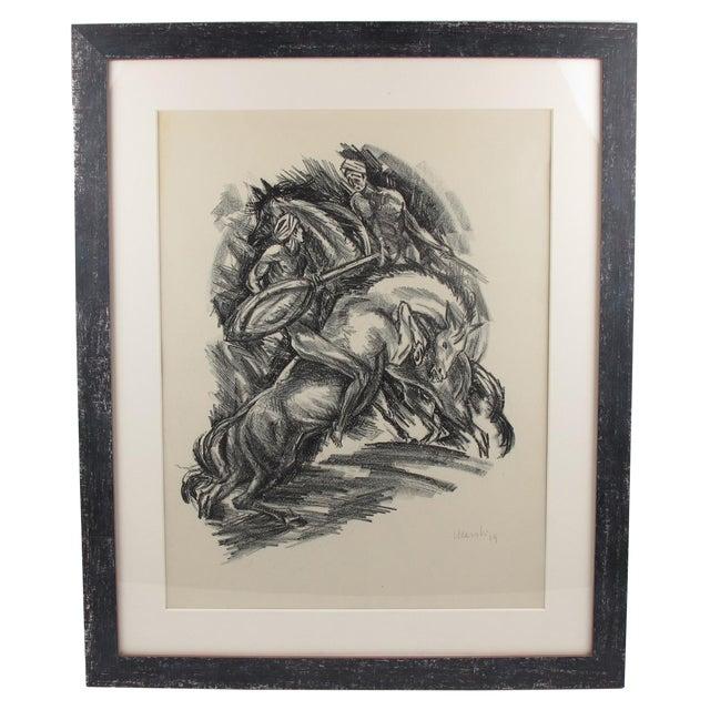 Adolf Uzarski Charcoal Drawing Lithograph For Sale