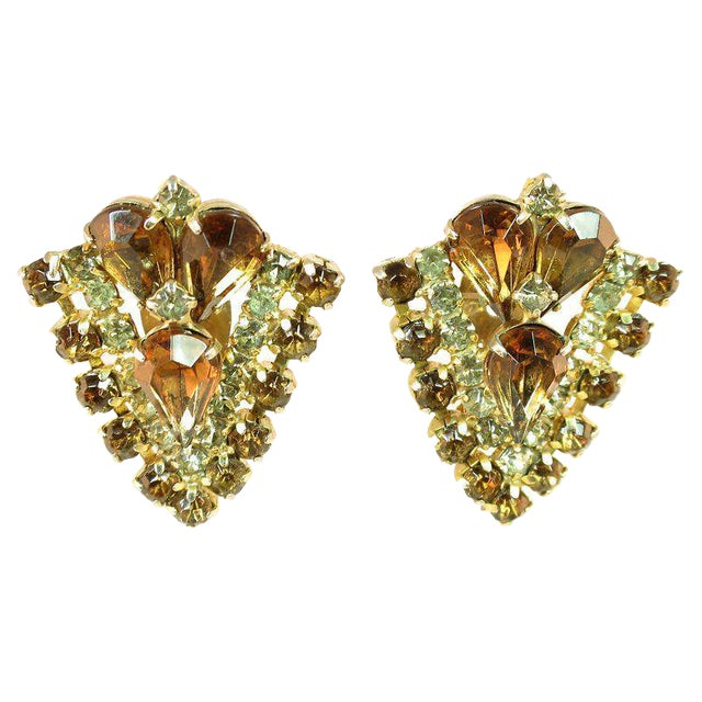 Topaz Crystal Chevron Earrings, 1950s For Sale