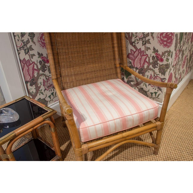 Late 20th Century Late 20th Century Wicker and Bamboo Canopy Chair For Sale - Image 5 of 7