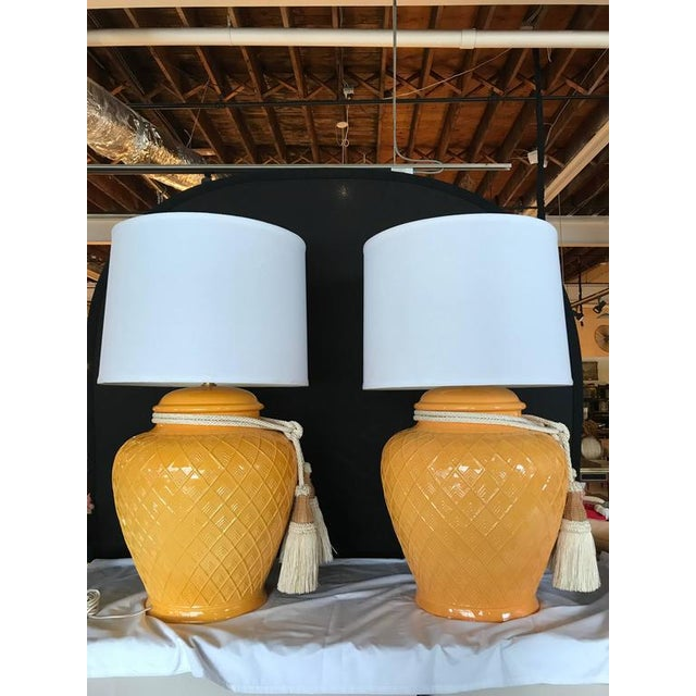 1980s Yellow Glazed Ceramic Jardinière Lidded Vase Lamps - A Pair For Sale - Image 5 of 10
