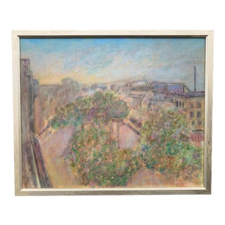 Mid 20th Century Village Scene Oil on Canvas Painting by William Lyberis For Sale