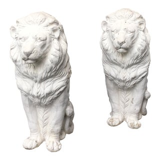 Traditional Concrete Seated Majestic Lion Sentinels - a Pair