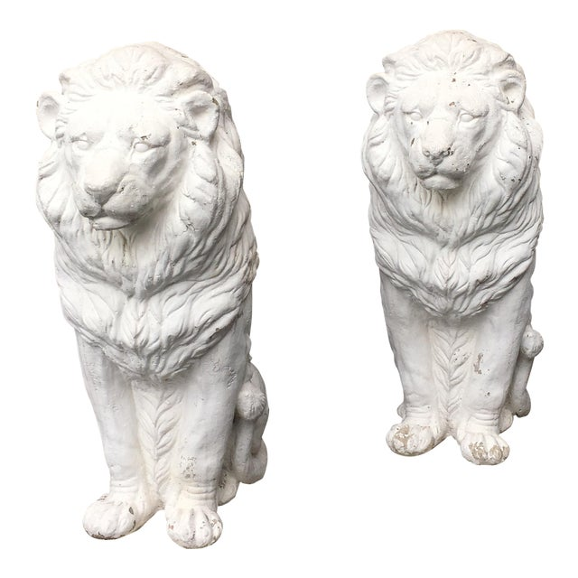 Traditional Concrete Seated Majestic Lion Sentinels - a Pair For Sale