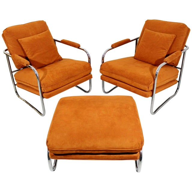 Mid-Century Modern Pair of Tubular Chrome Lounge Chairs and Ottoman For Sale - Image 11 of 11
