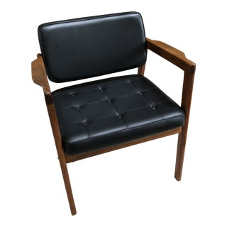 1960s Niels Eilerson Danish Modern Black Leather Teak Armchair For Sale