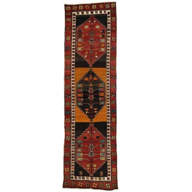 Vintage Turkish Oushak Runner with Modern Tribal Style, Hallway Runner For Sale - Image 5 of 5