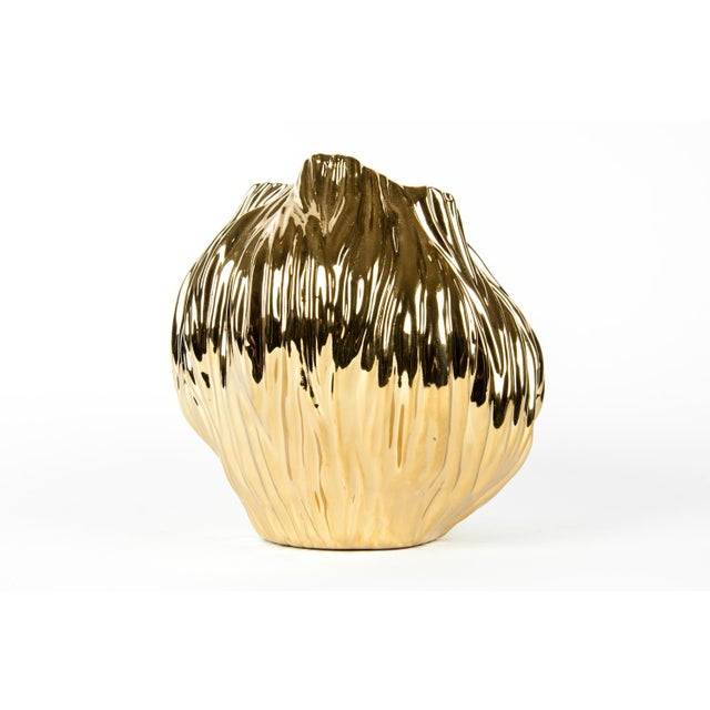 Mid-Century Gold Plated Ceramic Vase For Sale - Image 5 of 8