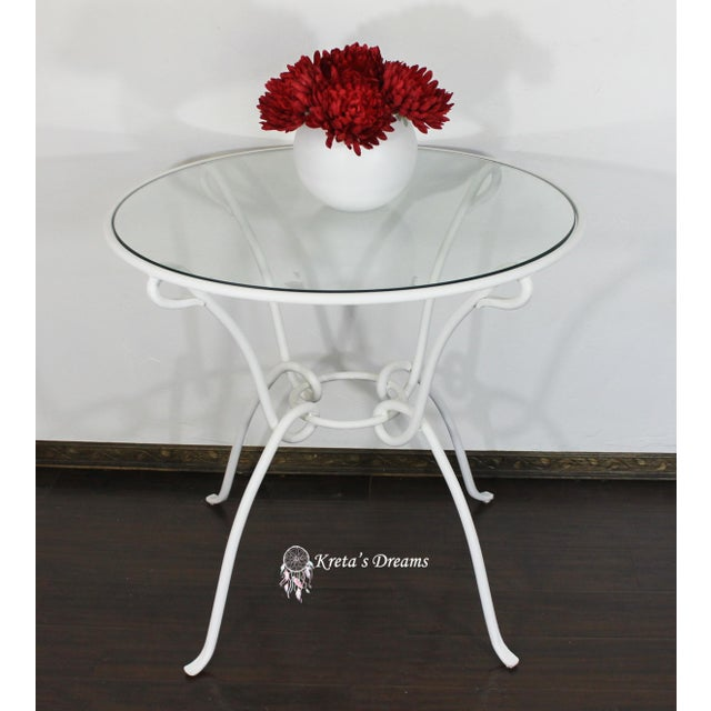 2000s Vintage White Metal Iron Glass Dining Table For Sale - Image 5 of 8