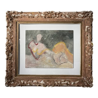 Vintage Abstract Watercolor Nude For Sale