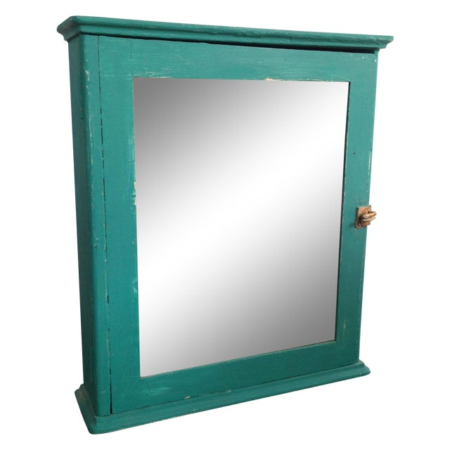 Teal Mirrored Medicine Cabinet, Storage Cabinet - Image 1 of 8