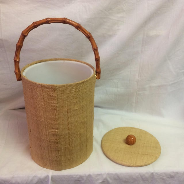 Rattan & Grass Cloth Ice Bucket For Sale In Sacramento - Image 6 of 9