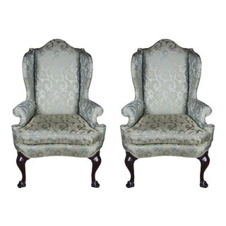 2 Antique Queen Anne Mahogany Wingback Arm Chairs Chippendale Damask Fabric For Sale