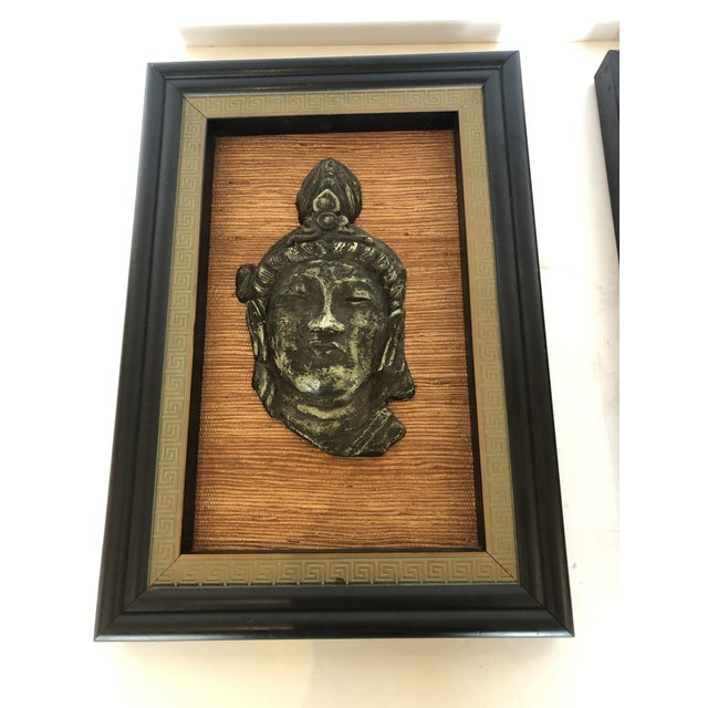 Hollywood Regency Hollywood Regency Framed 3d Buddhas With Greek Key Border -Pair For Sale - Image 3 of 11