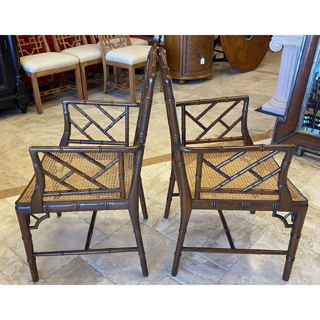 Chinoiserie Vintage Chinese Chippendale Faux Bamboo Armchairs or Host & Hostess Chairs - a Pair For Sale - Image 3 of 11