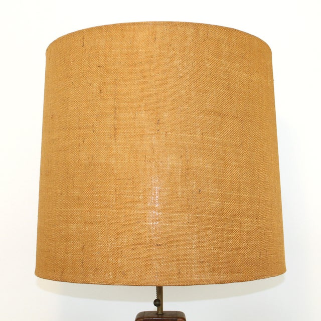 Monumental Teak Table Lamp, Modeline of Cali. For Sale - Image 7 of 10