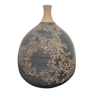 Richard Masterson Carved Studio Pottery Vase For Sale