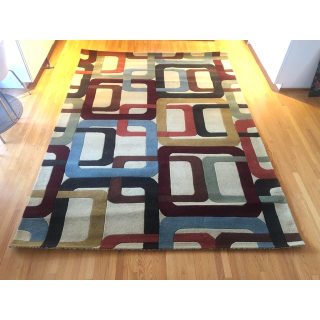 Blue Mid-Century Inspired Hand Tufted Surya Wool Rug - 8′ × 11′ For Sale - Image 8 of 8