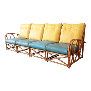 Mid-Century Modern Rattan Four-Piece Sectional Long Sofa by Heywood-Wakefield For Sale