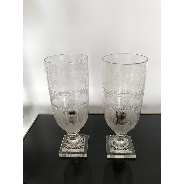 Antique Hand Blown Etched Glass Candlestick For Sale In Los Angeles - Image 6 of 6
