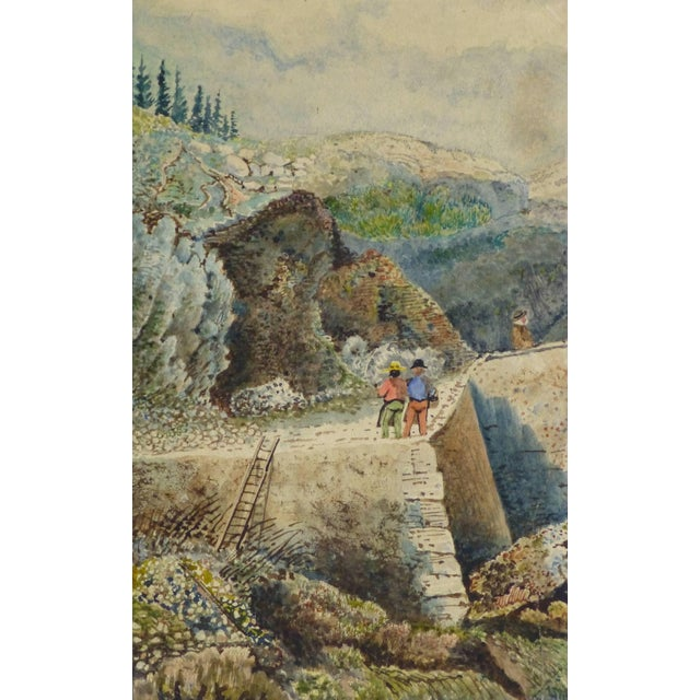 Mid 19th Century Antique French Watercolor - the Overlook For Sale - Image 5 of 5