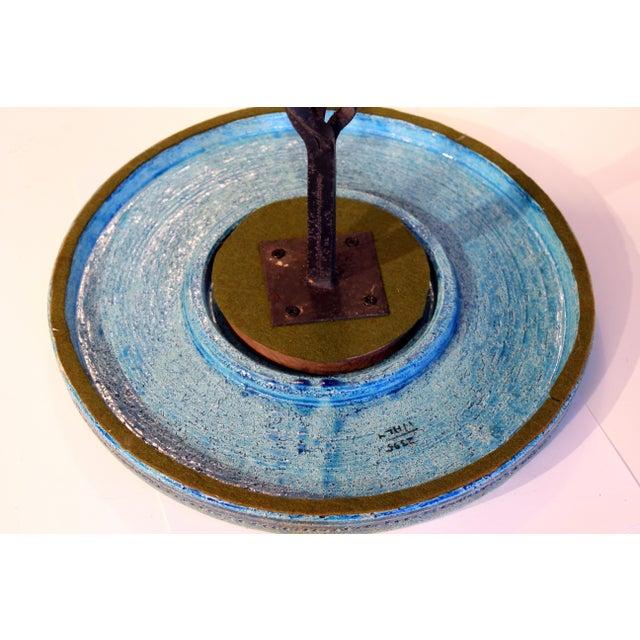 1960s Bitossi Rimini Blue Londi Italian Pottery Wrought Iron Ceramic Table For Sale In New York - Image 6 of 10
