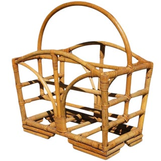 Restored Rattan Magazine Rack With Stacked Base, Circa 1950 For Sale