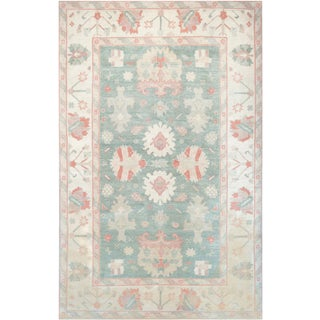 Mansour Turkish Handwoven Oushak Rug - 6' X 9' For Sale
