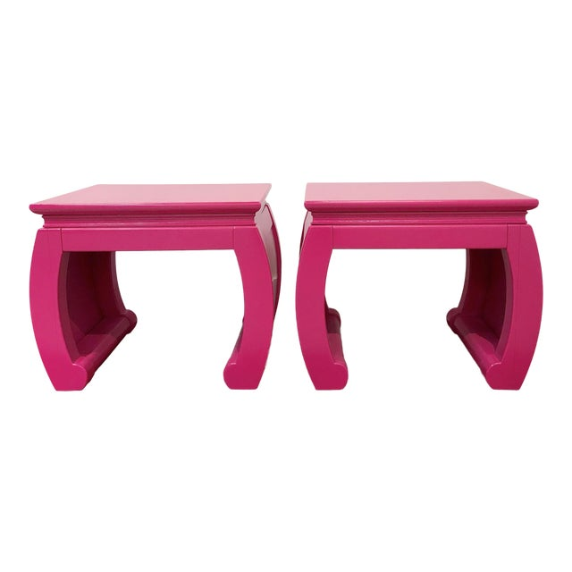 Ming Style Pink Chow Leg Side Tables/Low Stools - a Pair For Sale