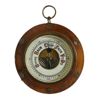 Mid 20th Century Small English Wall Mount Barometer For Sale
