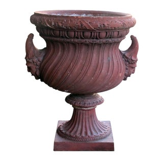 A Stunning English Neoclassical Style Terra Cotta Garden Urn With Mask Handles For Sale