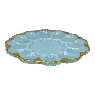 Vintage Fire King Blue Milk Glass Deviled Egg Plate With Gold Trim For Sale